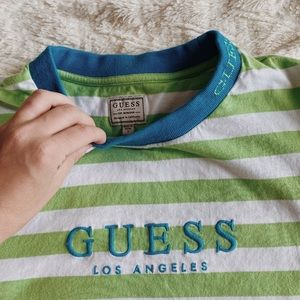 GUESS brand WORN ONCE GREEN STRIPPED TEE